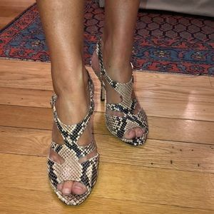 Kate spade authentic python t -strap heels